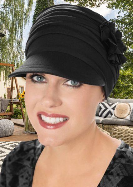 Bamboo Florette Newsboy Hat Black