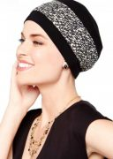 Bamboo Reversible Turban Black with neutral mosaic print